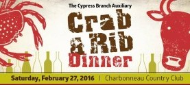 TICKETS ARE SOLD OUT! Annual Charbonneau Crab & Rib Dinner. Feb 27th. Tickets on sale now!
