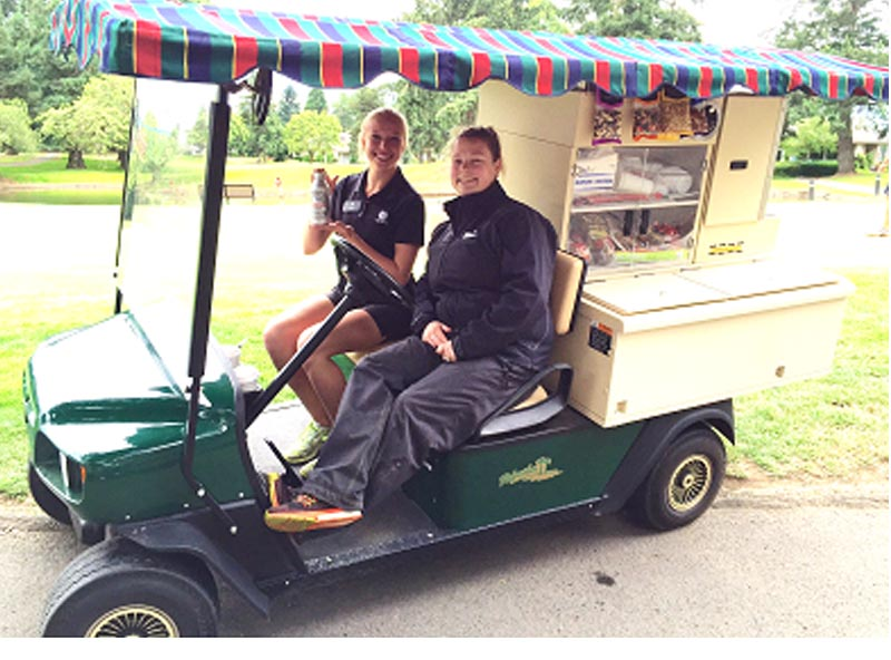 Our beverage cart is roaming the fairways daily