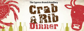 SOLD OUT!  Crab & Rib Dinner.  Mar 3rd. Tickets online.  Special raffle features trip for 2 to anywhere in the world!!!