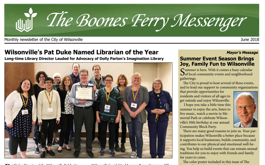 Boones Ferry Messenger. June 2018.  Is now online!