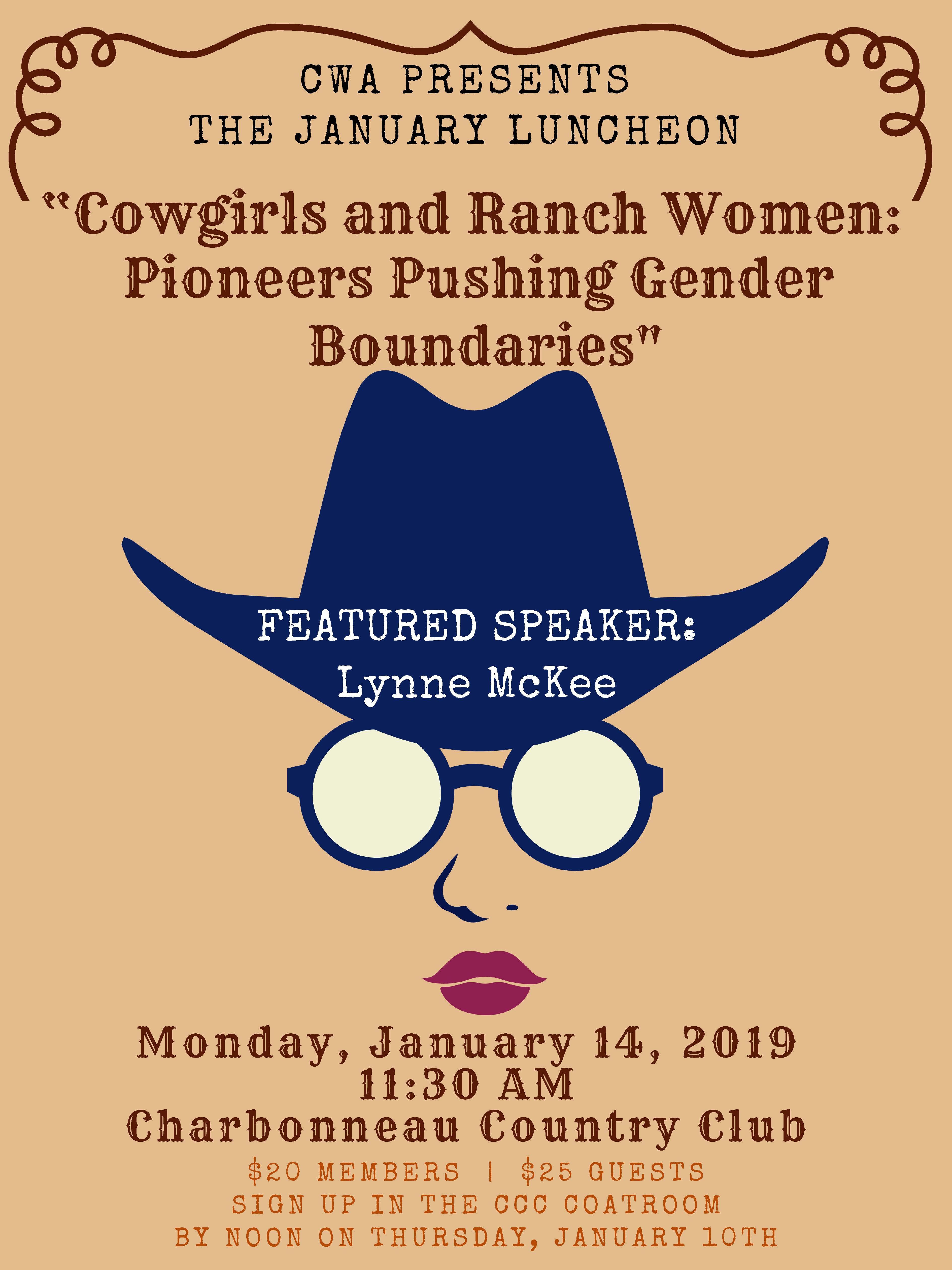 "CWA January 14th Luncheon:  ""Cowgirls & Ranch Women"""