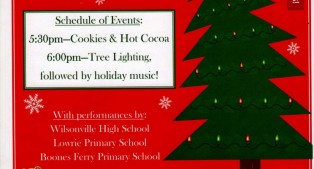 Community Tree Lighting Ceremony. Dec 4th in Town Center Park at 5:30pm.  Bring a toy for the kids.